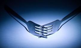 Two forks dinner restaurant utensil Stock Photography