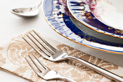 Two forks on napkin Royalty Free Stock Photography