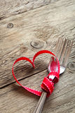 Two forks and red heart Royalty Free Stock Photography