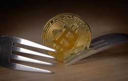 Two forks next to coin of bitcoin. Two forks rest near a bitcoin Stock Photography