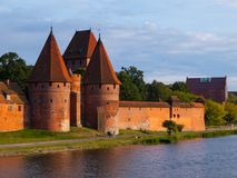 Two fortification towers at Nogat River in Malbork Stock Photo