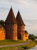 Two fortification towers at Nogat River in Malbork Stock Image