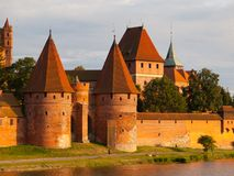 Two fortification towers at Nogat River in Malbork Stock Photography