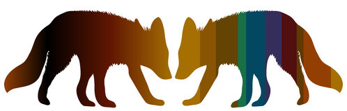 Two foxes. Motley silhouettes of two foxes which stand against each other Stock Photos