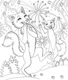 Two foxes and fireworks. Hand drawn illustration of two foxes and fireworks delight emotion black and white Royalty Free Stock Photo