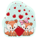 Two foxes with heart Royalty Free Stock Photography