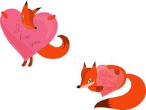 Two foxes with pink heart vector illustration