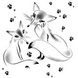 Two foxes and traces. Drawing of ink on white background Stock Image