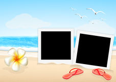 Two frame picture with sandal and orchid on the beach Royalty Free Stock Images