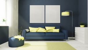 two frames on a blue living room Stock Image