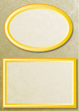 Two frames on gold background. Two shaded frames on a fine-grained goldcolored background Stock Photography