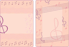 Two frames with notes and treble clef Royalty Free Stock Photos