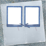 Two frames for photo with bow and ribbon Stock Images