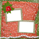 Two  frames for photos. With pearls and bunch of flower Stock Photography