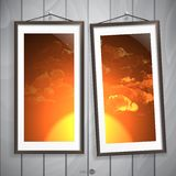 Two  Frames Of Picture On A Striped Old Wall Royalty Free Stock Photos