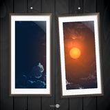 Two  Frames Of Picture On A Striped Old Wall Royalty Free Stock Images