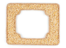 Two frames of the rope with barley grain on a white background Royalty Free Stock Photos