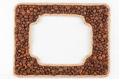 Two frames of the rope with coffee beans on a white background Stock Images