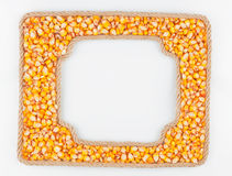 Two frames of the rope with corn  grain on a white background Stock Images