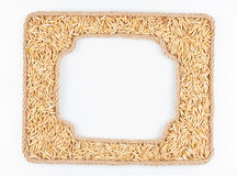 Two frames of the rope with oats  grain on a white background Royalty Free Stock Image
