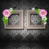 Two  frames with roses over vintage wallpaper Royalty Free Stock Images