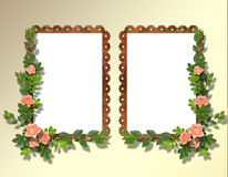 Two frameworks for photo. On the abstract background with flowers Royalty Free Stock Photo