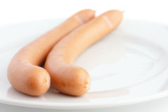 Two frankfurter sausages on a plate Royalty Free Stock Photography