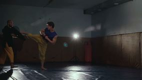 Two free fighters training kicks and receptions in the gym. Slowly.  stock video footage