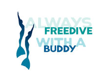 Two freedivers in monofins. Always freedive with a buddy. Royalty Free Stock Photography