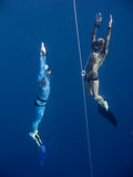 Two freedivers rise from the depth of Blue Hole. Two freedivers rise from the depth near the safety line in Blue Hole, Dahab, Egypt royalty free stock photo