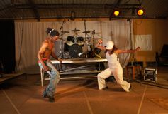 Two freestyle hip-hop dancers Stock Photo