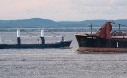 Near miss collision by two freighters. Two freight ships come close passing in the Bristol channel Kings Road in Somerset Stock Photo