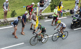 Two French Cyclists at Col de Peyresourde - Tour de France 2014 Royalty Free Stock Photos