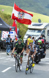 Two French Cyclists at Col de Peyresourde - Tour de France 2014 Royalty Free Stock Image