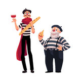 Two French mimes, young and old with symbols of France Stock Photos