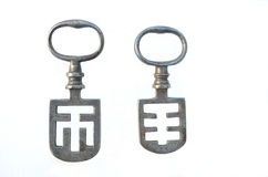 Two French Night Latch Keys Stock Images