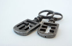 Two French Night Latch Keys stock image