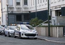 Two french police cars parked in the street Stock Image