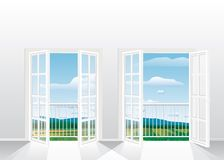 Two french windows. Illustration of the empty room with two opened french windows Stock Photo