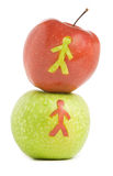 Two fresh apples. With man silhouette Stock Photos