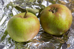 Two fresh apples. Two green apples fresh from the garden in tinfoil Royalty Free Stock Images