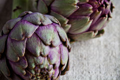 Two fresh artichokes Royalty Free Stock Images