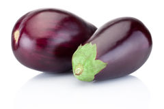 Two fresh aubergine isolated on white background Stock Photo