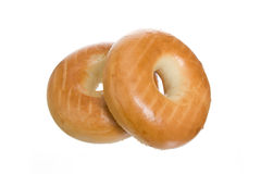 Two Fresh Bagels with White Background Stock Photos