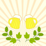 Two fresh beers with foam hat with branches of hops Royalty Free Stock Images