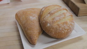 Two fresh breads stock video