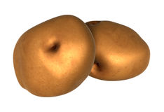 Two Fresh Brown potatos. Foods and Dishes Series. Royalty Free Stock Photos