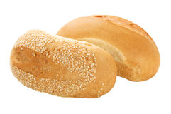 Two fresh buns fully isolated Royalty Free Stock Photography