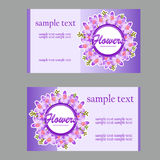 Two fresh business cards with lilac disign for. Two vector fresh business cards with lilac disign for your needs Stock Photography