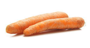 Two fresh carrots on a white background Royalty Free Stock Photo